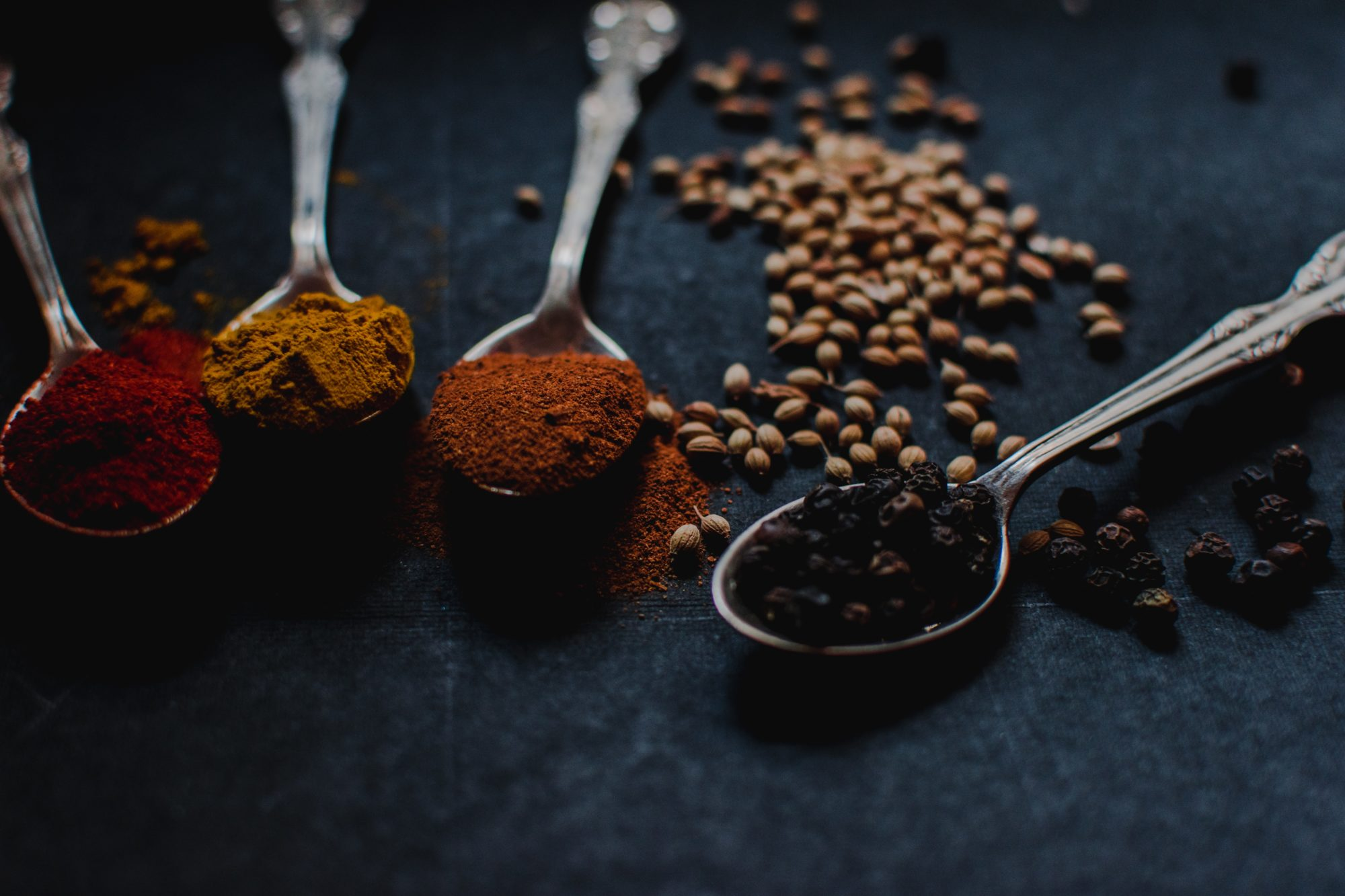 Spices in stailess steel spoons